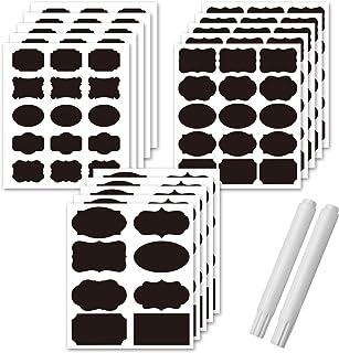 Tcseey 190 pcs Premium Chalkboard Labels, Removable Erasable Waterproof Chalkboard Sticker Labels with 2 White Chalk Marke...