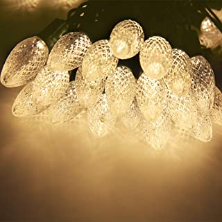 Uzexon [LONG LASTING] Outdoor Warm White Christmas Lights with C9 Big Strawberry Bulbs,17Ft 25 Led Commercial Decorative String Lights,Garden Patio Lights,Party Wedding Holiday Mood Lighting