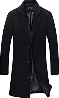 Mens Trench Coat Slim Fit Notched Collar Overcoat
