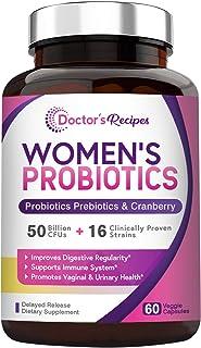 Doctor's Recipes Women's Probiotic, 60 Caps 50 Billion CFU 16 Strains, with Organic Prebiotics Cranberry, Digestive Immune...