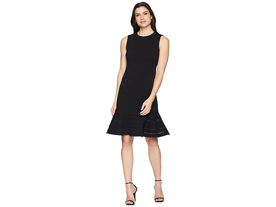 Calvin Klein Faggotting Trim A-Line Dress CD8C19MG (Black) Women