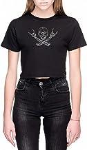 Schedel Metaal Dames Crop T-Shirt Zwart Women's Cr...