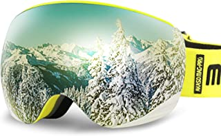AKASO OTG Ski Goggles, Snowboard Goggles, Mag-Pro Magnetic Interchangeable Lenses, Anti-Fog, 100% UV Protection, Helmet Co...