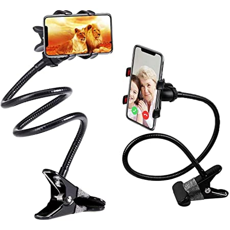 LXCN® Universal Metal Lazy Stand Flexible Mobile Stand,Cell Phone Clip Holder Lazy Bracket Heavy Mobile Smartphones Stand for Office Table,Bedroom,Kitchen,Desktop