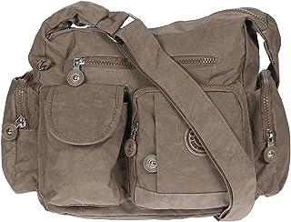 Damen Handtasche Crinkle Nylon Umhängetasche Schultertasche Tasche Shopper Bag Braun