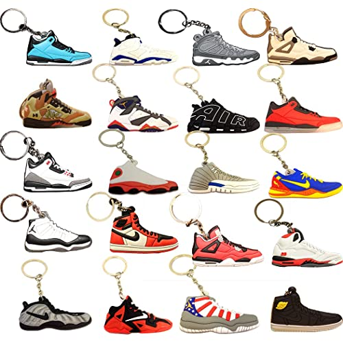 eebc3404aba 20 PACK Mini Sneaker Keychains - Rare Air Packs - Rubber Silicone 2D Retro  Sneakers