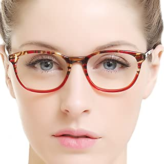 12cffe0673 OCCI CHIARI Women Rectangle Stylish Non-prescription Eyewear Frame With  Clear Lenses