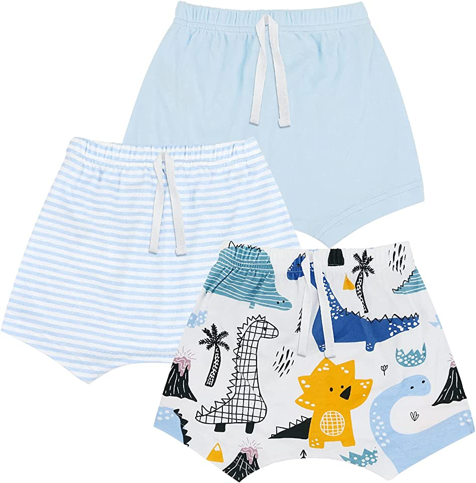 3pcs Newborn Baby Boy Shortst,Summer Cartoon Printed Shorts Clothes Outfits