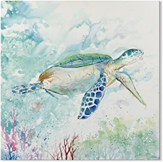 SEVEN WALL ARTS-- Modern Animal Sea Turtle Canvas Art Blue Ocean Seaview Artwork Picture on Canvas for Bathroom Home Decor 32 x 32 Inch