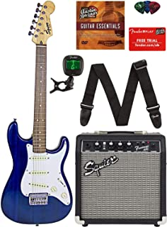 Squier by Fender Short Scale Stratocaster - Transparent Blue Bundle with Frontman 10G Amp, Cable