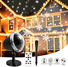 Christmas Snowflake Projector Lights, KAREEME Rotating LED Snowfall Projection Lamp with Remote Control for Christmas, Valentines Day, Halloween Holiday, Outdoor, House, Garden, Wall Decoration