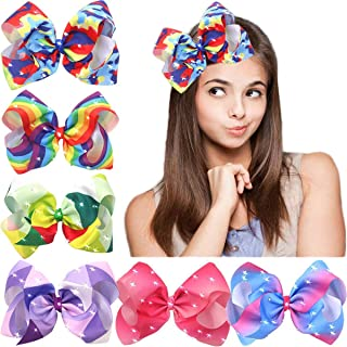 CÉLLOT 8 Inches Big Giant Colorful Pop Bows Grosgrain Ribbon Boutique Bling Sparkly Rainbow Hair Bows Alligator Clips For ...