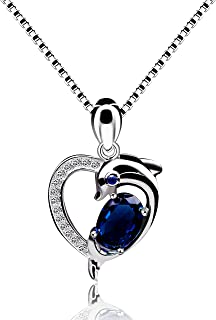 Uloveido 925 Sterling Silver Blue Spinel Created Sapphire September Birthstone Dolphin Heart Pendant Necklace for Women Girls Y435