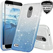 TJS Case for LG Aristo 2/Aristo 2 Plus/Aristo 3/Aristo 3 Plus/Tribute Dynasty/Tribute Empire/Fortune 2/Rebel 3 LTE [Full Coverage Tempered Glass Screen Protector] Glitter Paper Phone Cover (Blue)