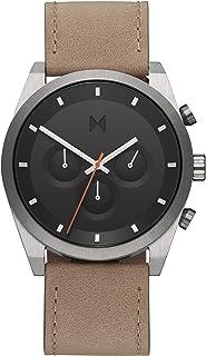 ساعة بمينا رمادي وسوار جلد رملي للرجال من ام في ام تي اليمنت - 28000044-D