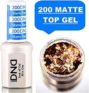 Daisy DND 200 MATTE TOP GEL, Soak off Gel NAIL All In One Daisy Top Coat for Nails (with bonus side Glitter) Made in USA (200 MATTE TOP COAT)
