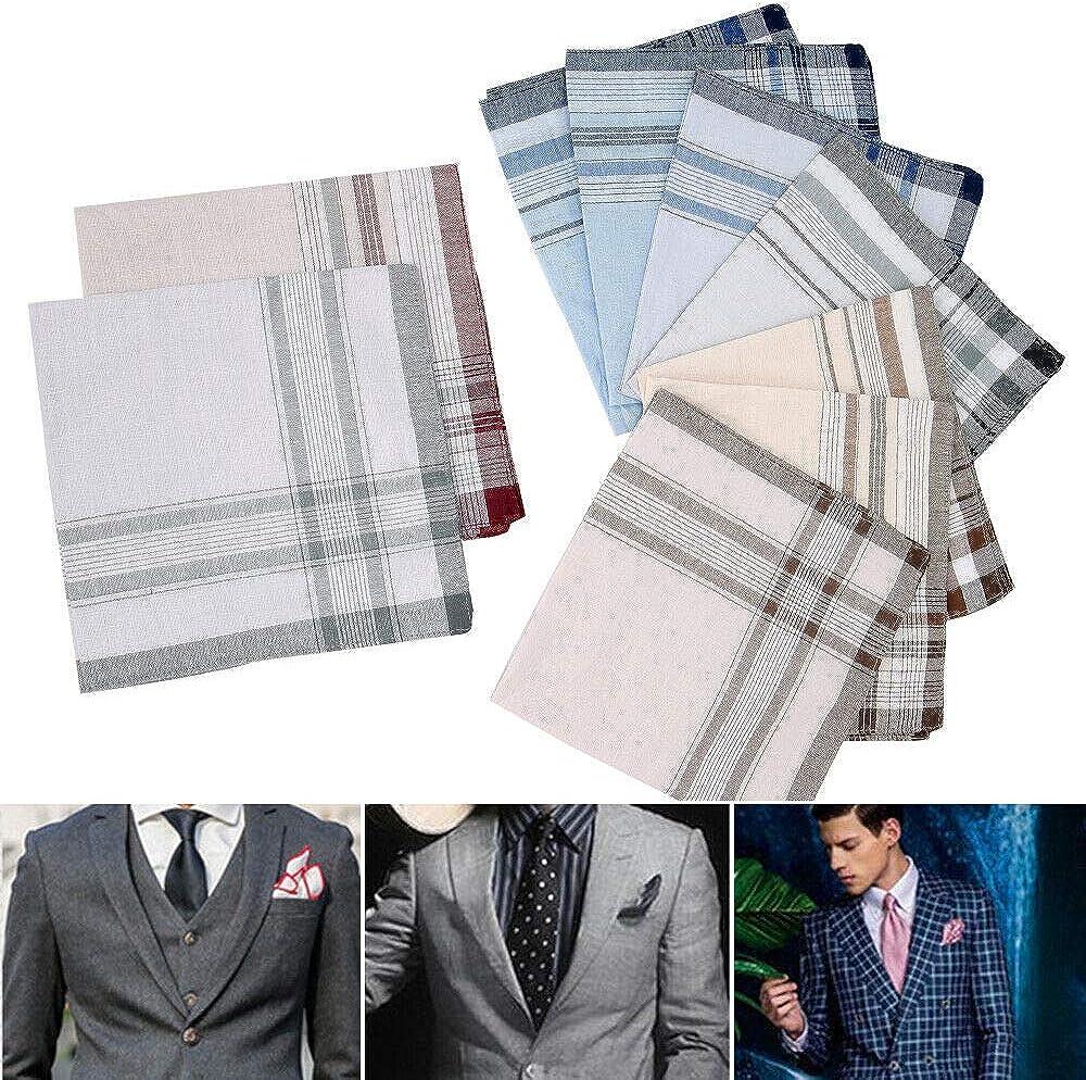 Vintage Men's Handkerchiefs Square Handkerchief Cotton Assorted Pocket Set 10x