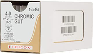 Ethicon Surgical Gut (Chromic) Suture, 1654G, Natural Absorbable, P-3 (13 mm), 3/8 Circle Needle, Size 4-0, 18