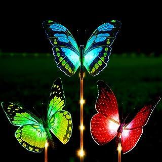 Solar Garden Lights Outdoor - Kearui 3 Pack Solar Stake Light with Fiber Optic Butterfly Decorative Lights Yellow Red Green