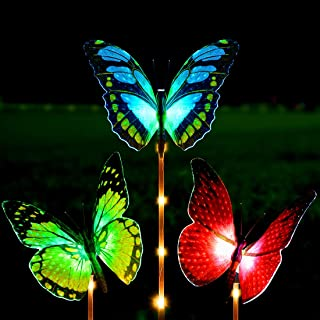 Kearui Solar Lights Outdoor 3 Pack Solar Stake Light with Fiber Optic Butterfly Decorative Lights, Multi-Color Changing LED Solar Lights for Garden Decorations, Garden Gifts