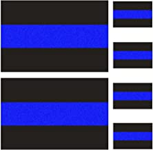 Reflective Police Thin Blue Line Bumper Decals (2 Pack, 4
