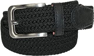 CTM Men's Elastic Braided Stretch Belt with Silver Buckle, XL 42-44, Black