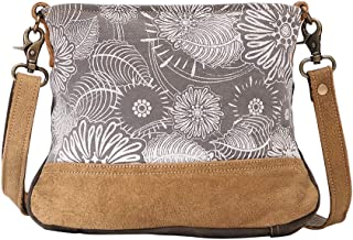 Saplings Upcycled Canvas & Leather Shoulder Bag S-1469