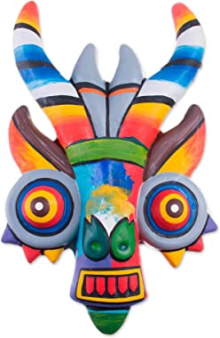 NOVICA Orange Green Blue and Red Hand Painted Ceramic Wall Mask, Rainbow Dragon'