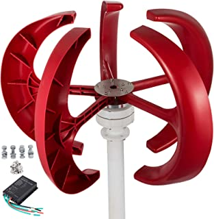 Happybuy Wind Turbine 300W 12V Wind Turbine Generator Red Lantern Vertical Wind Generator 5 Leaves Wind Turbine Kit with Controller No Pole (300W 12V, Red)