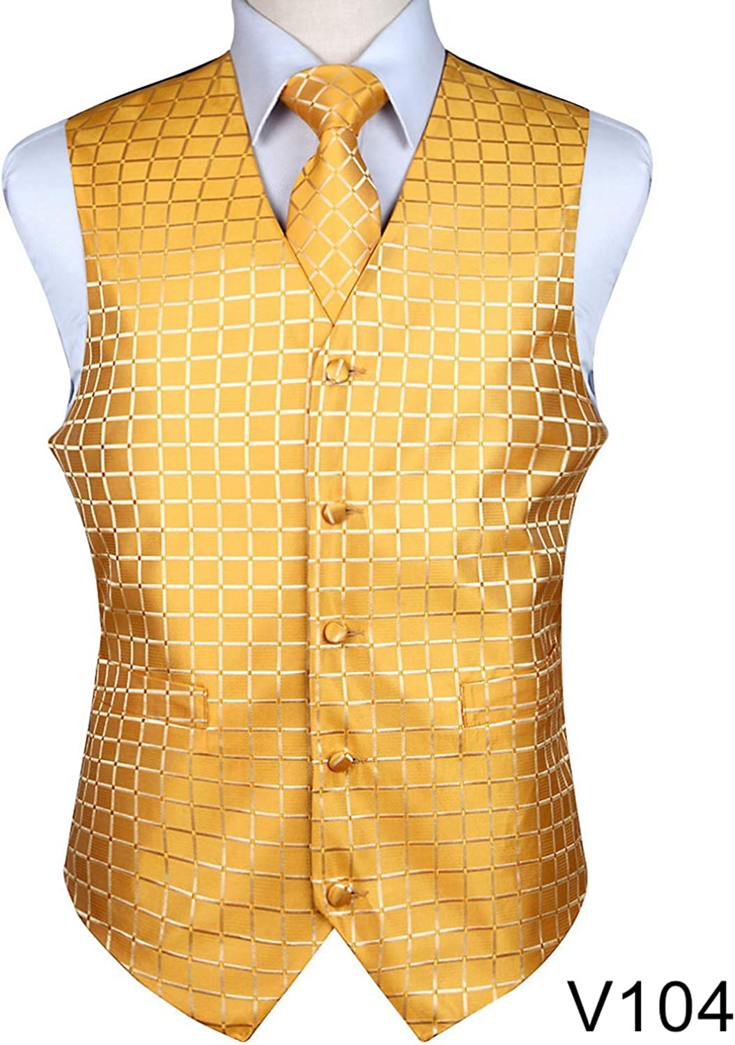 0a307a435dcb0 Carolyn Jones Men's Classic Classic Classic Party Wedding Plaid Floral Jacquard  Waistcoat Vest Pocket Square Tie Suit Set Pocket Square Set 152ae6
