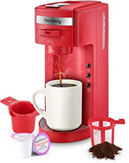 Coffee Maker,Thimblety Coffee Machine,Single Serve Coffee Brewer for K-Cup Pods, Compact 4 in 1(K-Cup Pods,Grounds&Loose-Leaf Tea)8 to 15oz.Brew Sizes,Reusable Filter&Travel Mug,40 Oz Reservoir,Red