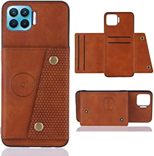 Dalchen Compatible for Case Oppo F17 Pro, PU Leather Wallet Kickstand Case with Card Slots, Double Buckle Case [Fits Magne...