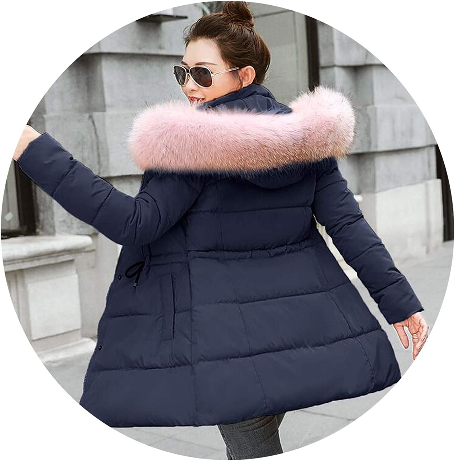MTStyle Winter Jacket Coats Artificial Raccoon Hair Collar Female Parka Cotton Padded Lining S3Xxxl