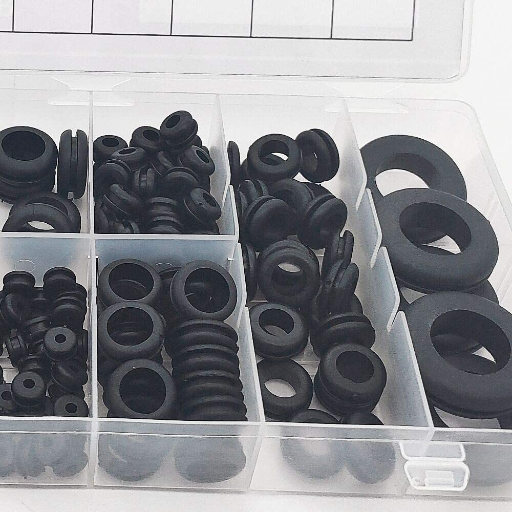 Rubber Grommet Assortment Kit 180pcs 8 Sizes Electrical Conductor Gasket Ring Set for Protecting Wires Plugs and Cables