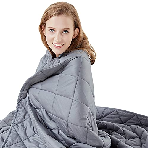 """Hypnoser Weighted Blanket 2.0 for Kids,Child,Teens   Great for Deeper Sleep   Fits Twin Size Beds (Inner Layer Dark Grey, 48""""x72"""" 12 lbs)"""