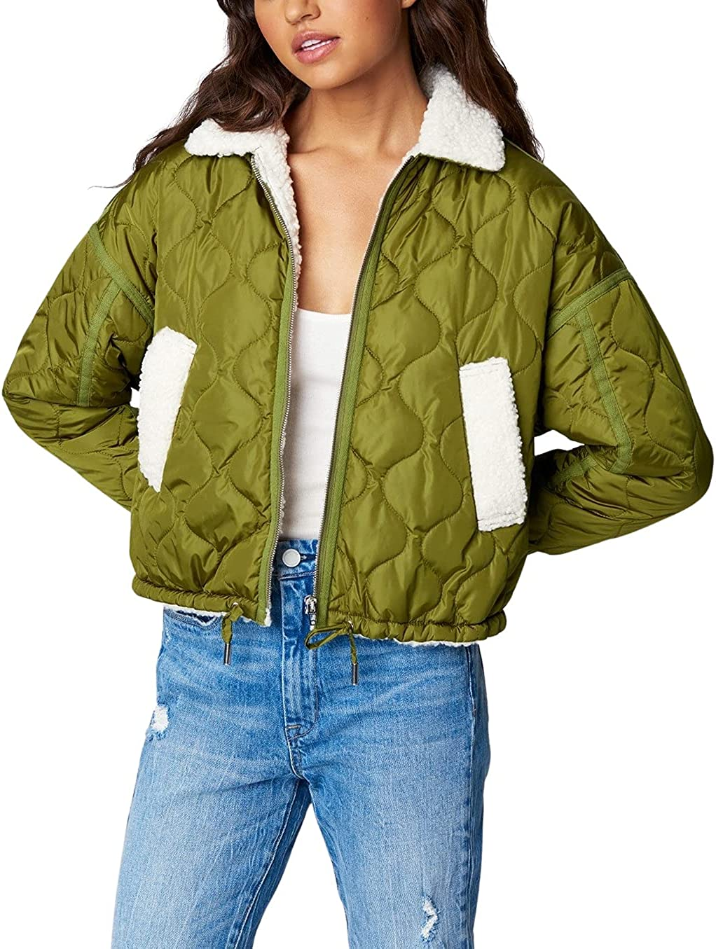 [BLANKNYC] womens Luxury Clothing Nylon Quilted Faux Sherpa Jacket