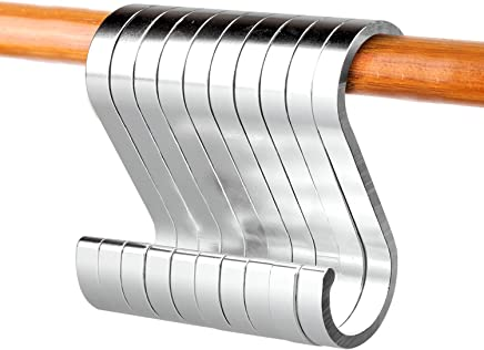 ACMETOP S字フック フックS字 汎用フック 錆防止 アルミ合金 滑り止め 吊り下げ フックS字 光らす表面 シルバー (10個)