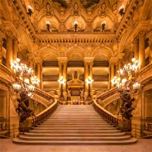 Leowefowa 10X10FT Luxurious Palace Backdrop Old Church European Golden Castle Backdrops for Photography Chandelier Staircase Interior Vinyl Photo Background Girls Lover Wedding Ceremony Studio Props