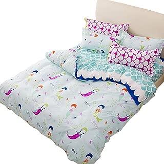 Sookie 3Pcs Blue Duvet Small Cartoon Mermaid (No Comforter and Sheet) Bedding Set for Kids,Mermaid Duvet Cover Set and 2 Pillow Shams - Full/Queen Size