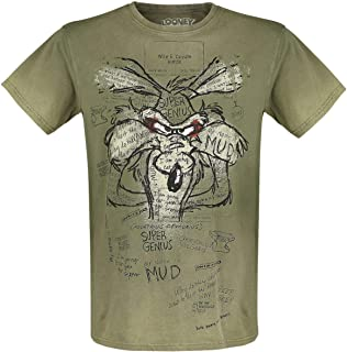 Wile E. Coyote - Inner Thoughts Hombre Camiseta Caqui, Regular