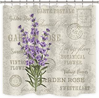 Riyidecor Lavender Vintage Shower Curtain Flowers Stall Floral Grunge Herbs Leaves Purple Beige Decor Fabric Polyester Waterproof Fabric 72x72 Inch 12 Pack Plastic Hooks Included