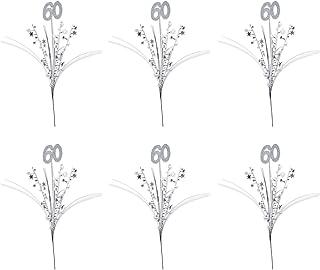 Beistle 6 Piece Glittered 60th Star Sprays For Birthday Parties And Anniversary Celebrations – Onion Grass Metallic Plasti...