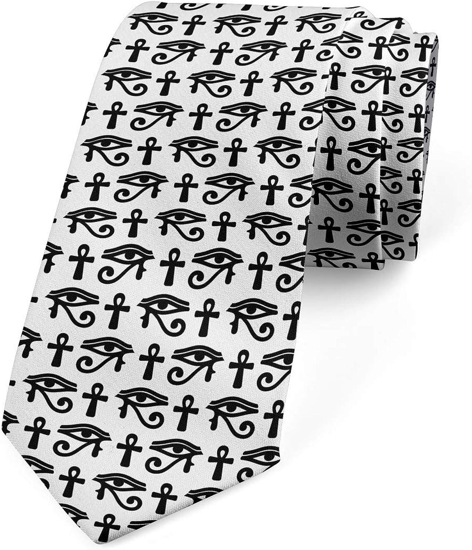 Ambesonne Necktie, Hieroglyphic Pattern, 3.7