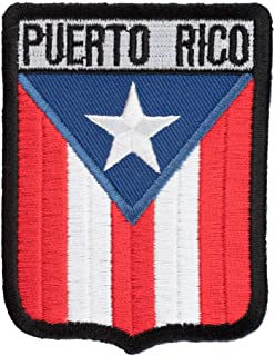 Puerto Rico Flag Shield Patch, Latin America Flag Patches
