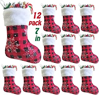 Vanteriam 7 inch Mini Christmas Stockings 12 Pack, Small Rustic Red & Black Plaid with Snowflake and Faux Fur Cuff Xmas Stockings Bulk, Gift Card Holders Cash Bags Holiday Treats for Family and Friend