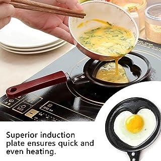 Mini Huevo Frito Sartén Molde Creativo Desayuno Pancake Pan Antiadherente Utensilios de Cocina Sección de Amor - Negro