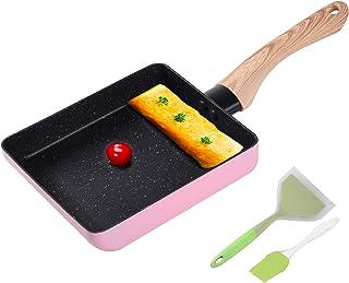 Egg Omelette Pan, Tamagoyaki Japanese Square Pan Non-Stick Ceramic Coating Mini Frying Cooker with Anti Scalding Handle, G...