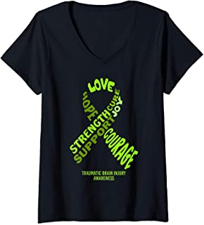 Womens Traumatic Brain Injury Awareness Ribbon With Words V-Neck T-Shirt