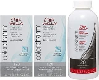 Wella Color Charm Toner T28 1.4 oz (2 Pack) + Cream Developer 20 Volume 3.6 oz