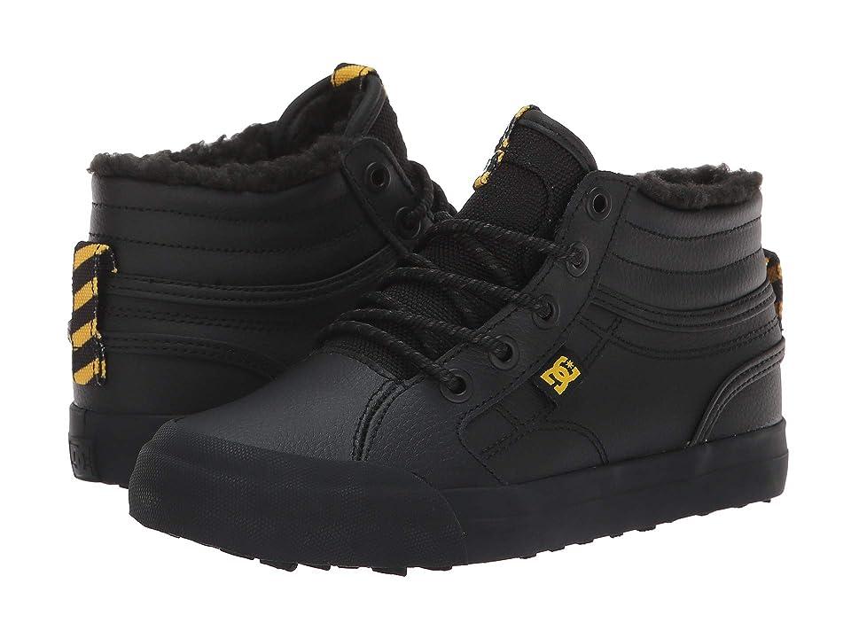 DC Kids Evan Hi WNT (Little Kid/Big Kid) (Black/Black/Yellow) Boys Shoes
